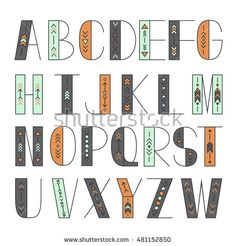 Latin alphabet vector, typography design. Set of  latin letters. Poster with latin abc made in aztec style. Modern and clean font