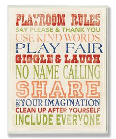 Loving this 'Playroom Rules' Wall Art on #zulily! #zulilyfinds