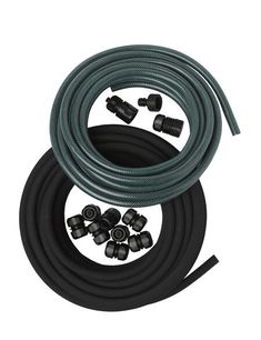 Customize your garden's irrigation with our snip-n-drip soaker hose system. The best watering solution for raised beds and elevated gardens. Water Garden, Garden Hose, Garden Beds, Bamboo Garden, Fruit Garden, Water Plants, Drip System, Drip Irrigation System, Irrigation Timer