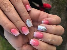 White pink ombre nails