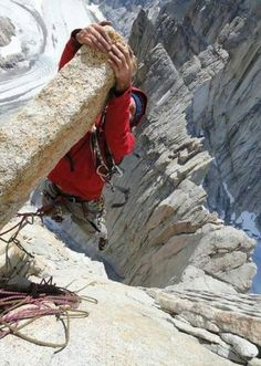 """""""I dare you to hang out on the end of that thing"""". Never dare a climber...."""