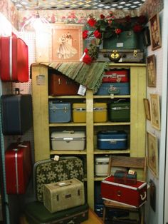 Fantastic old Cabinet filled with vintage Luggage! WHAT A TRIP!