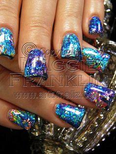 rockstar acrylic nails with foil and glitter. Holiday Nail Designs, Cute Nail Art Designs, Holiday Nails, Acrylic Nail Designs, Get Nails, How To Do Nails, Hair And Nails, Flare Nails, Fancy Nail Art