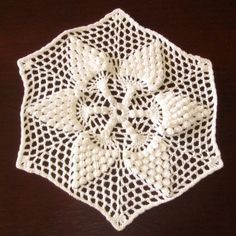 Pure White Popcorn Pineapple Crocheted Lace Star -Small Coaster Doily