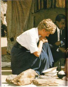 July 13, 1993: Princess Diana at the Tongogara Refugee Camp in Zimbabwe.