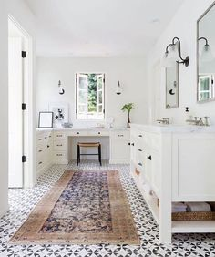 This bathroom by @katiehodgesdesign made me slow my scroll. Love the combo of the patterned tile and vintage rug. Such a beautiful bathroom!  #CopyCatChic