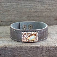 Real Leather Bracelet with Golden Swarovski Crystals by SteelJewelryShop on Etsy