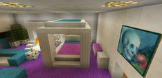 Minecraft Bedroom Pink Girl Purple Furniture Canopy Bed Fireplace