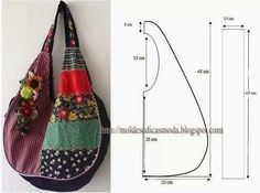 ¡¡ Moldes Moda por Medida: SACOS & DIVERSOS //Tons of bags with measurements on the images., How to sew a summer bag with his hands, This patterThis pattern may work for a jean BoHo bag, see picLove it, add some pockets and it is prefect hobo bag. Sewing Tutorials, Sewing Projects, Sewing Patterns, Patchwork Patterns, Patchwork Quilting, Purse Patterns, Hobo Bag Tutorials, Bag Quilt, Diy Sac