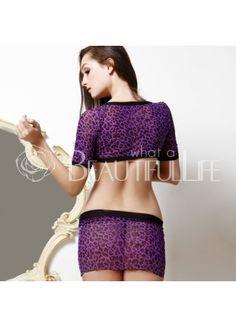 $36.99  Sexy Purple Black Polyester Bodysuit   201555