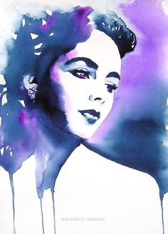 Elizabeth Taylor Art Print of Original Watercolor Fashion Glamour 1940s Portrait Blue Purple Indigo Hollywood Regency Home Decor Elizabeth Taylor Art Print of Original by KimberlyGodfrey on Etsy  http://www.wersdecor.website/2017/04/28/elizabeth-taylor-art-print-of-original-watercolor-fashion-glamour-1940s-portrait-blue-purple-indigo-hollywood-regency-home-decor/
