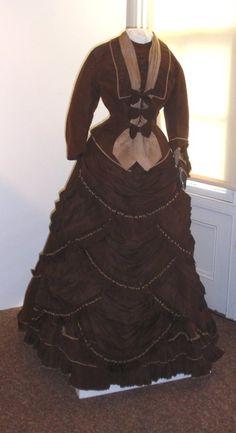 1870's, Early Bustle, brown/tan silk dress