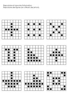 Mémoire : reproduire un dessin avec plateau pour les GS placer des jetons sur des cases repérages espace et prélecture...