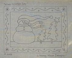 Waxing Moon's Winter & Snowman Themed Rug Hooking Patterns