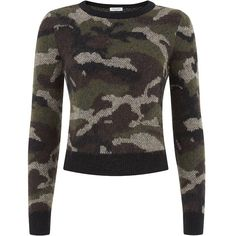 Saint Laurent Cropped Camouflage Sweater (945 CAD) ❤ liked on Polyvore featuring tops, sweaters, shirts, crop top, stretch crop top, camo print shirt, camoflage shirt and camouflage sweaters