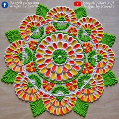 Free Hand Rangoli Design, Small Rangoli Design, Colorful Rangoli Designs, Rangoli Designs Diwali, Rangoli Designs Images, Mandala Design, Happy Diwali Rangoli, New Year Rangoli, Diya Rangoli