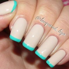 This cool French manicure uses a clean nude nail polish pepped up with turquoise tips. Try getting these fresh nails with these products.