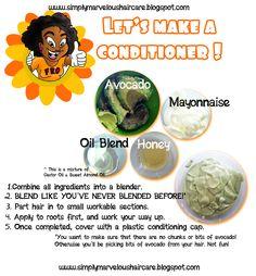 Avocado, mayo, oil blend + honey = homemade conditioner