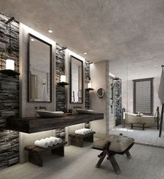 Amazing hotel bathroom in grey and dark wood. Obviously I wont have this kind of space but the colours and lighting are gorgeous, could steal some ideas from here. Especially the light grey floorboards love those!