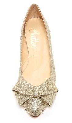 Glitter bow flats
