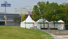 Shelter provided this line of small gazebo tents for logistic services in sport events, and these high peaks of white tents formed an pleasing image. Gazebo Canopy, Backyard Gazebo, Shade Canopy, Small Gazebo, Shelter Tent, Pvc Fabric, Tent Sale, Wedding Fabric, Marquee Wedding