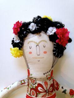 Frida Kahlo-arte muñeca OOAK - felpa - hecho por encargo
