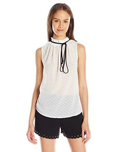 XOXO Womens Sleeveless Gathered Neck Top Ivory Medium *** You can get more details by clicking on the image.