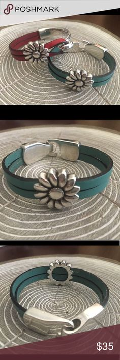 "👀NewListing👀💥Silver/light turquoise leather💥 This is anew bracelet just made with flowerslide and silver hook like closure. Will fit 6.5""-7"" Jewelry Bracelets"