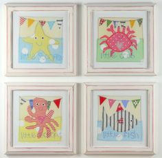 Hotchpotch Sealife Nursery Wall Art Set in white/pink frames perfect for seaside loving little girls! £17.50 each #girlsnursery
