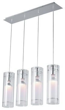 Clear Cylindrical ET2 Multi Pendant Light Fixture - contemporary - chandeliers - Euro Style Lighting