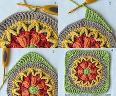 Block 4 and Greetings from the North Sea! Circles of the Sun Mystery CAL 2015 – overlay crochet – Block 4 crochet pattern by LillaBjornCrochet Crochet Mandala Pattern, Crochet Circles, Crochet Buttons, Crochet Blocks, Freeform Crochet, Crochet Stitches Patterns, Crochet Squares, Granny Squares, Afghan Patterns