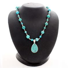 """Sterling Silver 36"""" Turquoise Bead Necklace w/ Pear Shaped Enhancer #Affinityfashionjewelry #Enhancer"""
