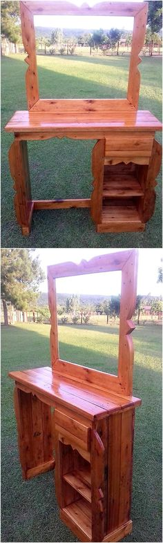 Now here is the vanity creation idea which is a furniture item that requires hundreds of dollars to be spent, but you can make it in a low cost and innovative style by modifying the pallets and copying this idea.