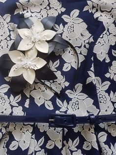 Navy and white leather flower fascinator