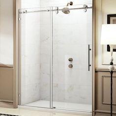 Wet Republic Trident Lux x Single Sliding Frameless Shower Door Tub Shower Doors, Bathtub Doors, Frameless Sliding Shower Doors, Bathtub Shower, Shower Enclosure, Glass Shower, Master Shower, Budget Bathroom Remodel, Narrow Bathroom