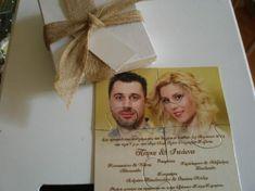 Γάμου πρόσκληση σε παζλ με φωτογραφία του ζευγαριού Place Cards, Place Card Holders, Frame, Fotografia, Picture Frame, Frames