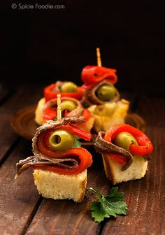 Tapas Recipes-Gildas (Anchovy, Olive and Peppers recipe from Spicie Foodie