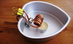 Quickly build a steam engine. All that is needed is a copper coil, an aluminum baking ban, a tea-light candle, a binder clip and voila we had a steam engine boat toy that is fun and educational. Total time from idea to execution was two hours!