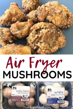 These air fryer mushrooms are the best easy appetizer! How to make crispy fried mushrooms in your air fryer. Healthy fried mushrooms with less oil than deep frying. Air Fryer Oven Recipes, Air Frier Recipes, Air Fryer Dinner Recipes, Deep Fried Mushrooms, Stuffed Mushrooms, Wild Mushrooms, Air Frying, Deep Frying, Fried Mushroom Recipes