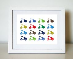 Vespa Scooters 8X10 Art Print/Wall Art (available in 2 colour combinations) - by jenimdesign on madeit