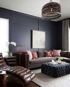 Last but not least this luxe looking masculine living room by /ryanstreetassoc/ That buttery leather lounge chair is calling my name! Want to see how we'd recreate it? Vote now! #CopyCatChic