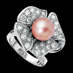 Bague perle rose Eternal Flower - Maison Jaubalet
