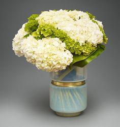 Elegant Hydrangeas in Milk Glass   L'Olivier Floral Atelier