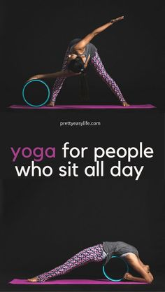 Online free tested videos for people who sit all day. Become more productive if you're a desk worker. Anyone who sits all day need to stretch and relax. #yogaifyousitallday #yogastretch #yogaposes #relaxwithyoga