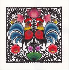 Polish traditional paper cut-out made by hands in Łowicz Paper Cutting, Folk Art, Rooster, Polish, Hands, Traditional, Handmade, Painting, Vitreous Enamel