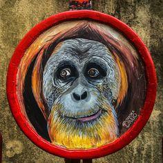 Orangutango feito pelo ilustrador Dario Taboka. Sobre esse suporte passei uma fina camada de massa acrílica. A aquarela fica ótima sobre ela!