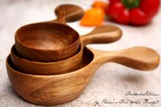 Measuring Cup Set, Large Wood Scoops, Fine Kitchen Utensils, Artisan Chef's…