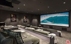Home Cinema Room, Home Theater Rooms, Home Theater Design, Hollywood Hills Homes, Sala Grande, Modern Mansion, New Homes, House Design, Mansions