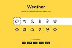 Weather Icon Pack by Petr Bilek on Weather Icons, Design System, Icon Pack, Line Icon, How To Draw Hands, Web Design, Design Web, Website Designs, Site Design