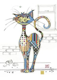G003 Cola Cat bug art greeting card